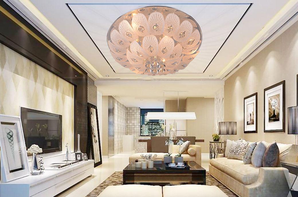 【普卓尔】 现代风格 二段式孔雀吸顶灯 玻璃水晶 餐厅客厅(不含光源)