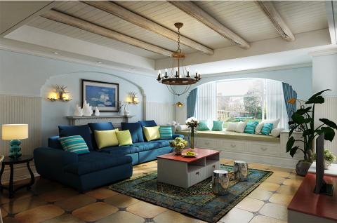 【空间配套】地中海风格 二室二厅二卫 世纪葵花 整屋设计