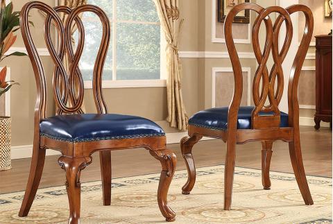 【安然居】美式风格 胡桃色实木框架餐椅HW-YT1XMQ02C-30S-CY