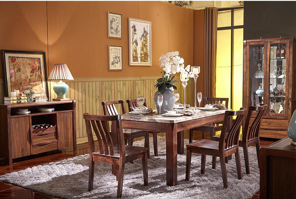 【森匠】尊贵典雅进口橡胶木框架大理石面板长餐台JYT-C9103-CZ