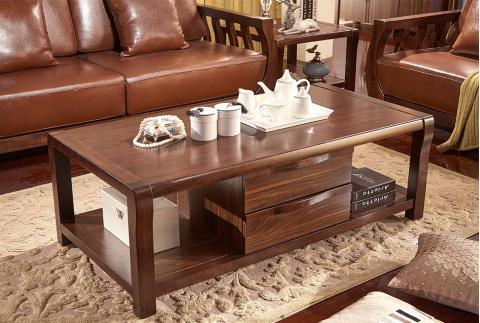 【森匠】中式风格 典雅简约 进口橡胶木框架茶几 JYT-K9303-CJ