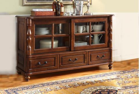 【安然居】美式风格 胡桃色实木框架餐边柜 YT1XMQ02C-36