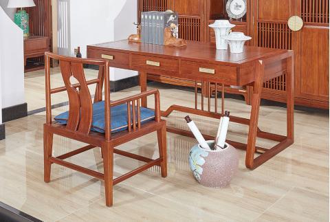 【齐家】新中式 全实木书桌 南美花梨木写字台电脑桌书房家具
