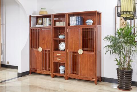 【齐家】新中式 南美花梨木书房组合书柜收纳柜 两门书柜