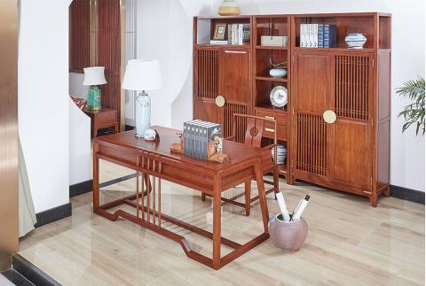 【齐家】新中式 南美花梨木书房组合书柜 收纳柜子
