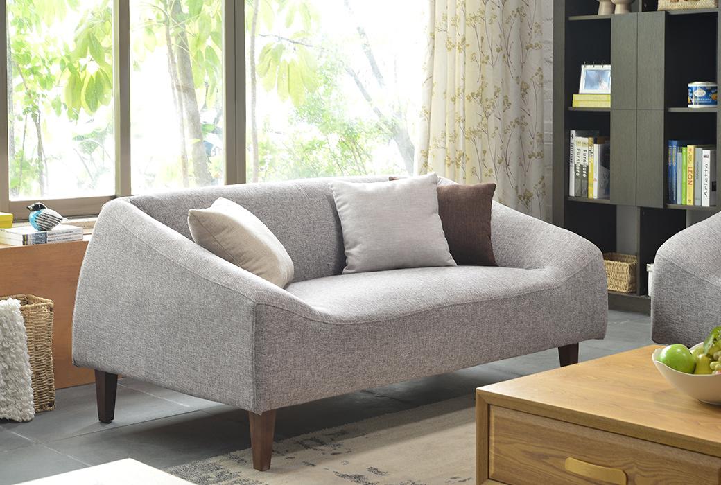 【纳德威】现代风格 简约时尚优质实木框架 灰白色布艺双人沙发