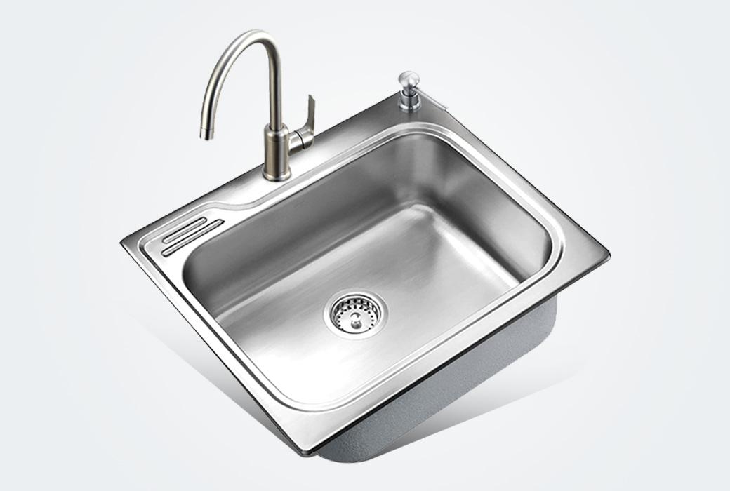 【摩恩】加厚水槽單槽 580mm不銹鋼 拉絲面 一體成型洗菜盆廚盆套裝22000配60401srs防指紋水龍頭