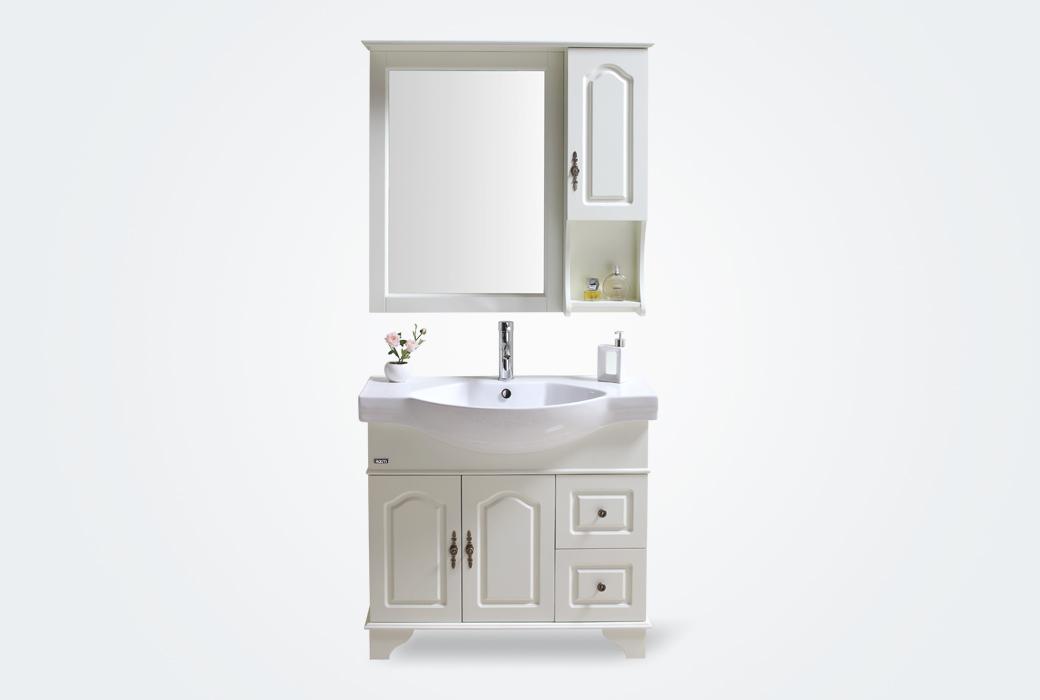 【立家卫浴】RM8806-09 实木橡胶木白色浴室柜组合奇幻城国际娱乐落地0.9米RM8806