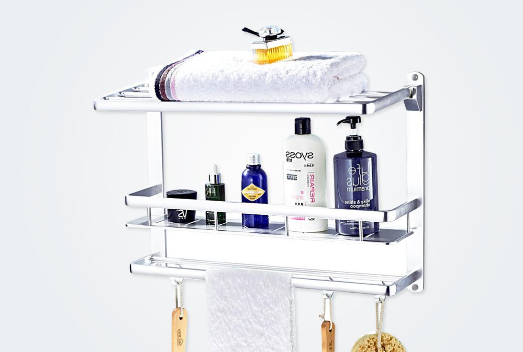 【卡贝】太空铝浴巾架 双层浴室置物架 卫浴五金挂件 88183L