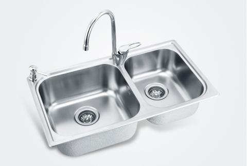 【摩恩】304不锈钢拉丝面洗菜盆厨盆水槽套装23610+77111