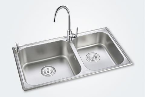 【摩恩】不锈钢磨砂面大双槽水池洗菜盆28120配GN60201龙头