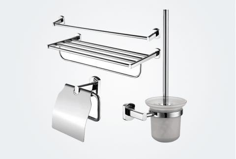 【卡丽】浴室四件套毛巾架浴巾架卫生纸架马桶刷组合装99990T-CP