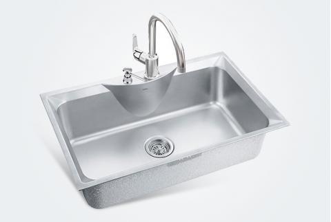 【摩恩】厨房洗碗池304不锈钢加厚洗菜盆大单槽套餐27119+60201+7029