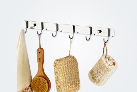 【卡貝】不銹鋼掛鉤實心毛巾排勾子廁所墻壁金屬掛衣勾排鉤T56