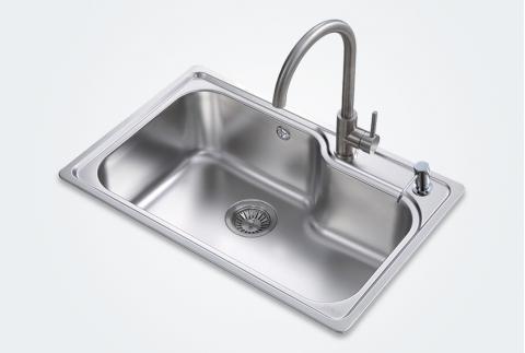 【科勒佳德】厨房304不锈钢多功能单槽水槽21414T配双出水抽拉式龙头 77722T-NA