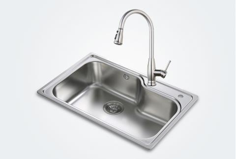 【科勒佳德】304不銹鋼廚房多功能單槽水槽21414T配高端伸拉龍頭77722T送皂液器