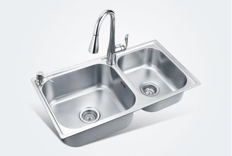 【摩恩】不锈钢厨房双槽820mm洗菜盆28117sl+7594c抽拉龙头+7029皂液器