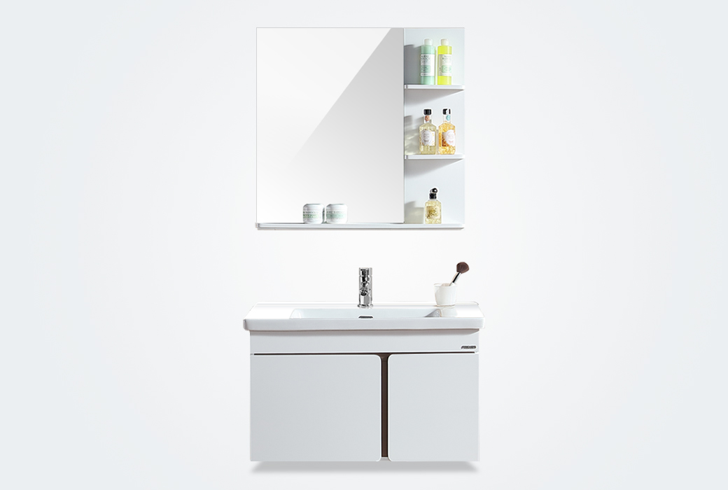 【法恩莎】法恩莎浴室柜 方心浴室柜 白色简约PVC壁挂式浴室柜