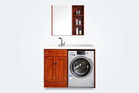 【唐彩卫浴】简欧风格 实木洗衣柜带搓板 浴室柜组合 TC8821W-12