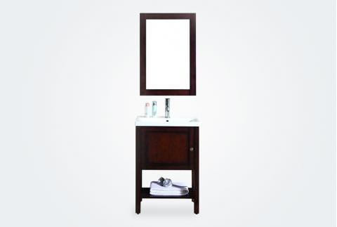 【立家卫浴】9803实木橡木落地高端现代简约中式仿古浴室柜