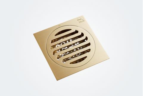 【漢鯊】加厚地漏 浴室廚房衛生間防臭地漏 土豪金旭日東升系列D1202