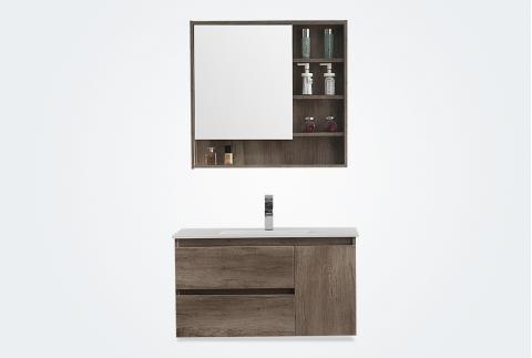 【卡贝】浴室柜组合 实木浴室柜 卫生间洗脸盆洗面盆挂墙式浴室柜Y1104-80-古橡裂纹