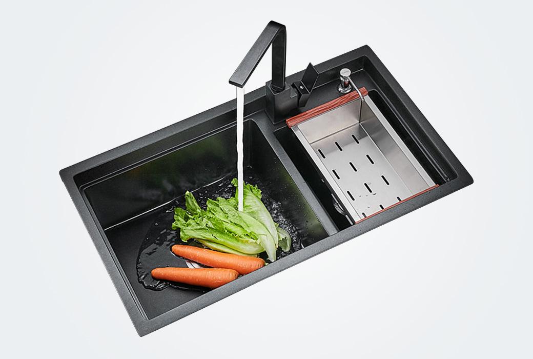 【卡貝】石英石水槽洗碗池水盆洗菜盆 C7846A+98343 石英石(黑)雙槽