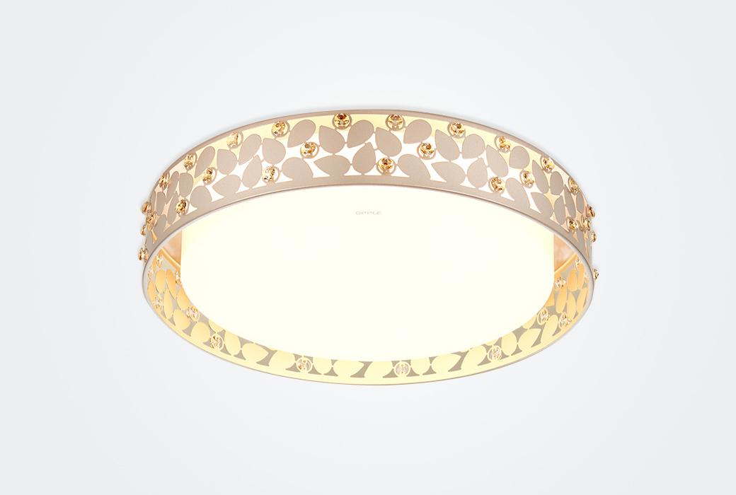 【歐普照明】LED臥室吸頂燈 現代簡約調光調色時尚浪漫房間燈飾 花漫月 (墻壁開關)(不含安裝)