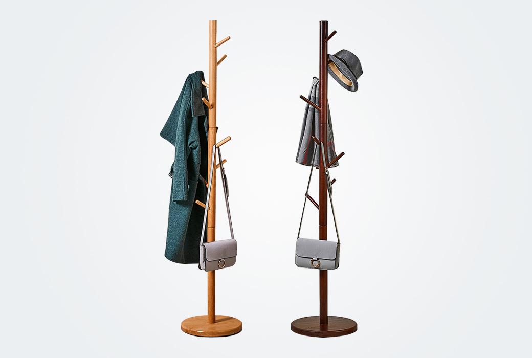 【卡貝】卡貝錘形實木衣服架子家用臥室置物架衣帽架辦公室簡易落地室內掛衣架 LDM0327T(蜜糖色)