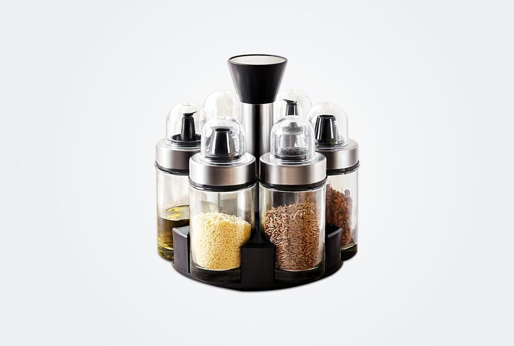 【卡貝】卡貝歐式創意廚房旋轉玻璃調味瓶套裝  TW-05七件套