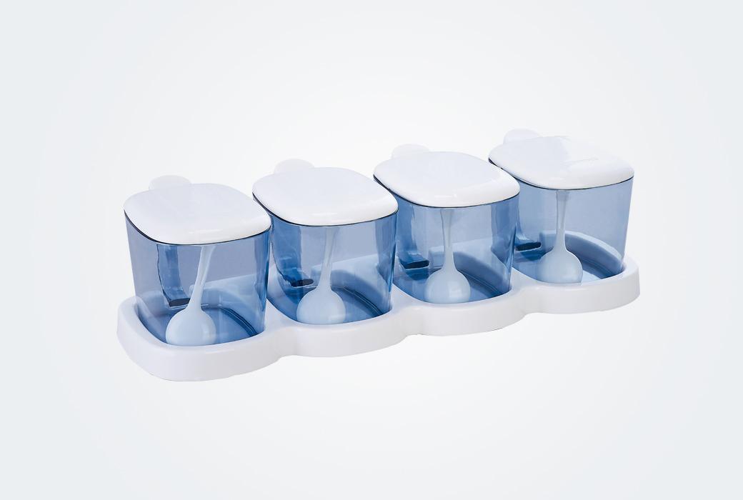 【茶花】網紅款塑料調味套裝4組 顏色隨機發貨B25003(積分商城)