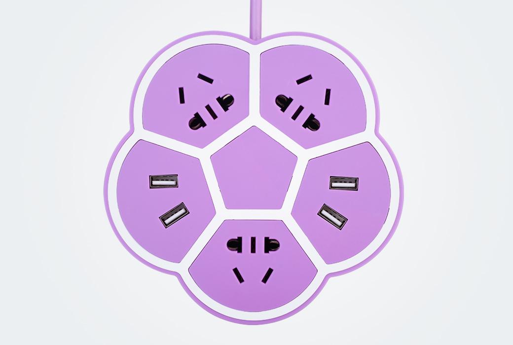 网红创意樱花电板家用宿舍学生手机充电usb排插座带线多功能插座 紫色