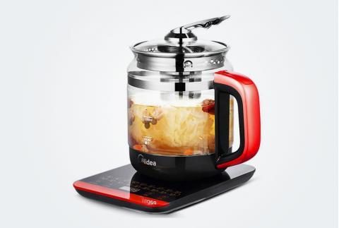 美的(Midea)养生壶1.5L多功能电水壶煮茶煎药壶加厚玻璃分体式全自动防干烧GE1703c 深红色