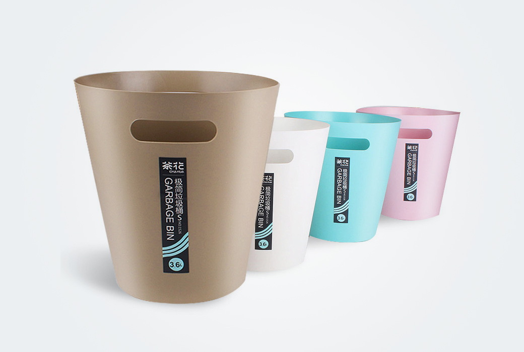 【茶花】家用衛生間客廳廚房創意歐式無蓋塑料垃圾筒1525/1526 淺咖色組合 大小各一個8.3 L / 3.6 L