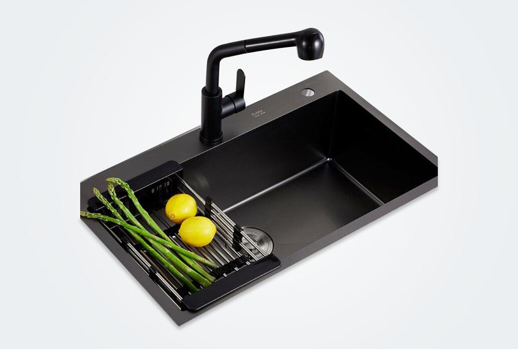 【卡贝】石英石水槽 单槽洗碗池水盆洗菜盆单槽S6045+98503黑