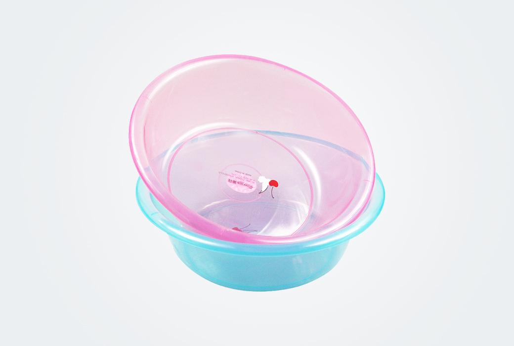 【茶花】洗菜盆圓形果蔬菜盆透明洗臉盆嬰兒童洗浴盆 0301(直徑30cm)顏色隨機發貨
