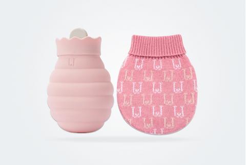 佐敦朱迪硅膠熱水袋注水暖水袋女學生暖手寶寶可愛暖肚子隨身小號 粉色
