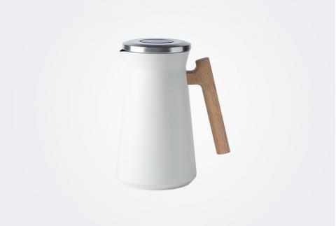 【網易嚴選】北歐木柄保溫壺 1L 白色3704107