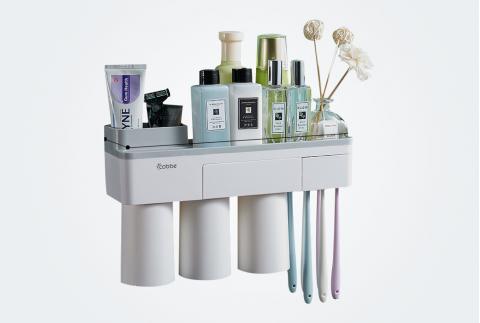 卡貝牙刷置物架免打孔壁掛式衛生間牙刷杯套裝牙杯架刷牙杯掛墻式 GQ-YSJ-03灰