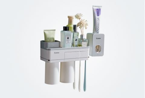 卡貝牙刷置物架免打孔壁掛式衛生間牙刷杯套裝牙杯架刷牙杯掛墻式 GQ-YSJ-05灰