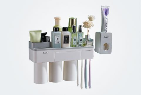 卡貝牙刷置物架免打孔壁掛式衛生間牙刷杯套裝牙杯架刷牙杯掛墻式 GQ-YSJ-06灰