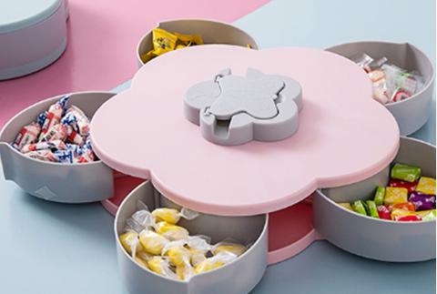 抖音同款雙層旋轉果盤糖果盒雙層旋轉花瓣零食瓜子盒創意客廳現代家用堅果盒干果盒 煙粉色