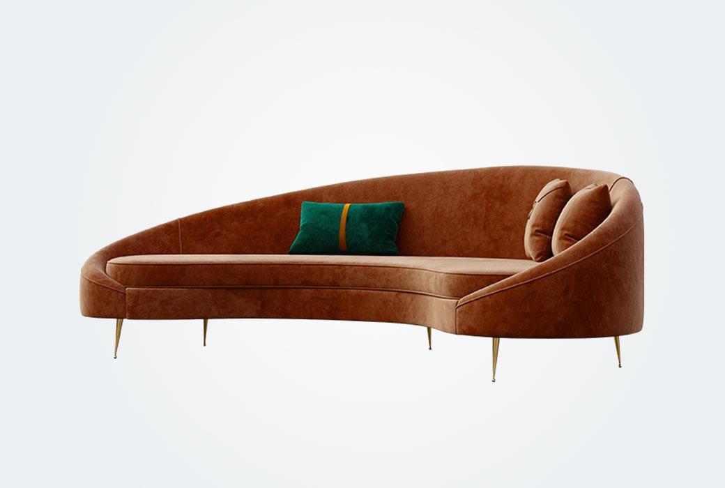 現代輕奢 大師設計 優雅弧形沙發 不含抱枕