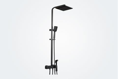 卡貝黑色淋浴花灑套裝家用衛生間全銅衛浴增壓沐浴器浴室淋雨噴頭98266(啞光黑)帶叉架-51(D)