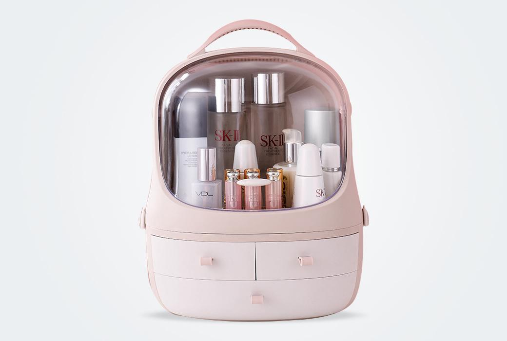 網紅款化妝品首飾企鵝收納盒桌面防塵簡約家用口紅面膜護膚品收納盒 粉色