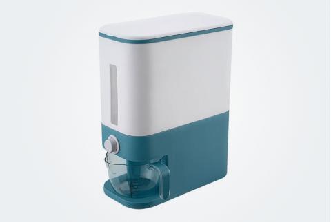 華耐計量米缸米桶防蟲防潮密封家用20斤裝自動出米12kg儲米箱MT35001L 藍色