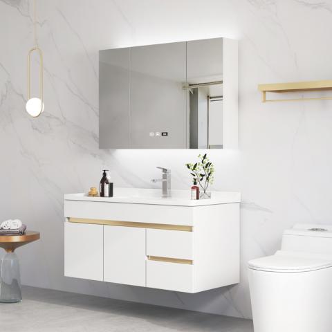 華耐家居浴室柜現代輕奢洗手盆柜組合洗臉智能掛墻式衛生間洗漱臺 80CM  白色(一門兩抽屜)