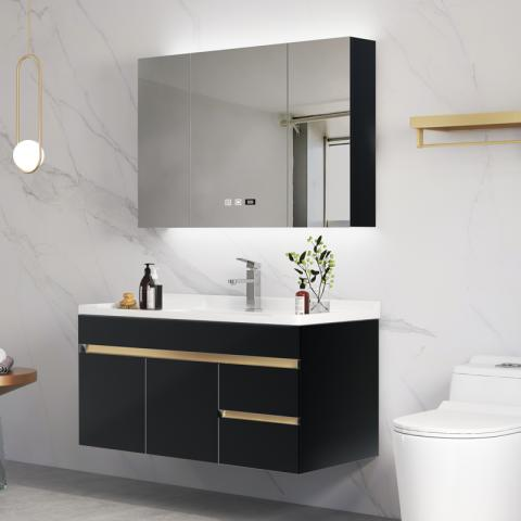華耐家居浴室柜現代輕奢洗手盆柜組合洗臉智能掛墻式衛生間洗漱臺 90CM  黑色