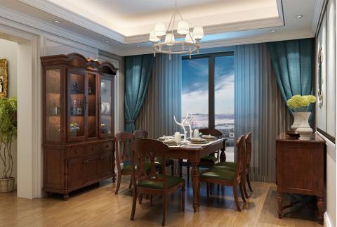 美式风格餐厅设计一生不羁爱自由(安然居家具)