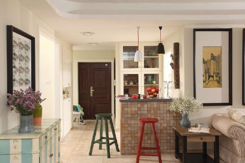 一见倾心的美宅 清新美式混搭139㎡ 客厅